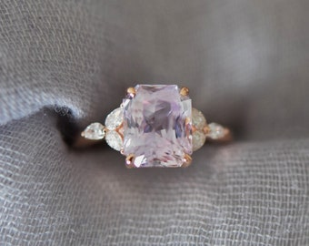 Lavender sapphire engagement ring. color change sapphire ring 4.47ct emerald cut ring Rose gold ring. Trillium Engagement ring Eidelprecious