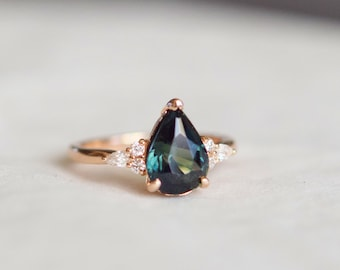 Green sapphire ring. Rose Gold Engagement Ring Teal Sapphire pear cut Campari engagement ring 14k rose gold ring by Eidelprecious