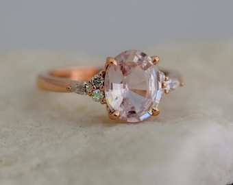 Blush sapphire engagement ring. Light peach pink sapphire 2.44ct oval diamond ring 14k Rose gold. Campari Engagement ring by  Eidelprecious