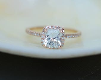 White sapphire engagement ring 14k rose gold diamond ring 2ct cushion sapphire ring by Eidelprecious