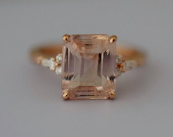 Engagement Ring Rose gold engagement ring Peach Champagne Sapphire ring Campari ring emerald cut diamond ring 4.65ct ring by Eidelprecious