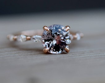 Moody engagement ring. Rose Gold Engagement Ring. Sapphire engagement ring. One of a kind ring Sapphire round Engagement ring Eidelprecious