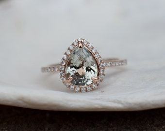 Rose gold ring Pear Sapphire 1.73ct smokey white sapphire diamond ring 14k rose gold. Engagement ring by Eidelprecious