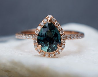 Rose Gold Engagement Ring Peacock Blue Green Sapphire 1.23ct pear cut halo engagement ring 14k rose gold ring Eidelprecious