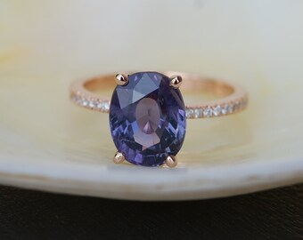 Purple Sapphire Ring. Rose Gold Ring. 18k rose gold diamond ring. GIA Indigo Purple  Oval Sapphire 4.03ct. Engagement ring by Eidelprecious