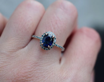 Blue Green sapphire engagement ring. Peacock sapphire oval halo blue green diamond ring 14k Rose gold ring by Eidelprecious