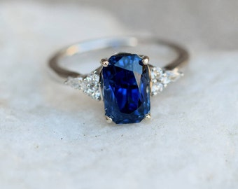Navy Blue sapphire ring Engagement ring 14k white gold diamond ring 3Ct cushion blue sapphire ring Campari design by Eidelprecious