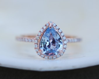Medium Blue Sapphire Engagement Ring Blue sapphire 14k Rose Gold Diamond ring Pear Sapphire Ring