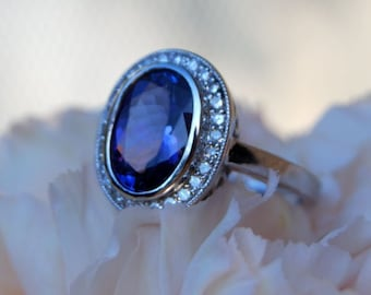 LA VIOLETTE  by Eidelprecious Tanzanite Engagement Ring Diamond Ring White Gold Ring. Bezel engagement ring by Eidelprecious