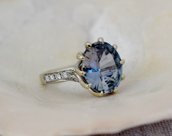 One of a kind Engagement Ring. Grey Blue Green Sapphire Ring. 14k White Gold 5ct sapphire engagement ring by Eidelpresious