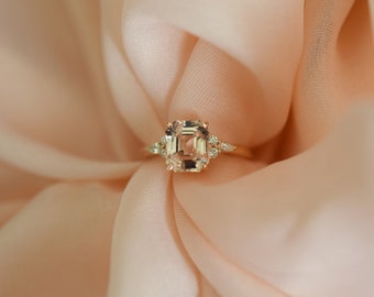Engagement Ring Rose gold engagement ring Peach Sapphire ring Campari ring emerald cut Rose gold diamond ring