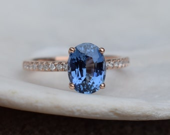 Denim Blue Sapphire Engagement Ring. Blake Lively ring. Oval cut 14k rose gold diamond ring 2.2ct blue sapphire ring by Eidelprecious