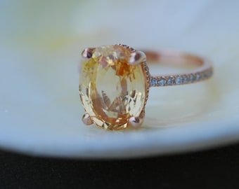 Engagement Ring. Orange yellow sapphire ring. 5ct Oval Sapphire ring. 18k rose gold diamond ring Golden Honey sapphire ring by Eidelprecious