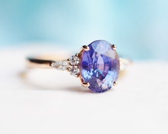 Eidelprecious Campari ring. Violet Blue sapphire engagement ring. Blue sapphire 3ct oval diamond Campari ring 14k rose gold ring