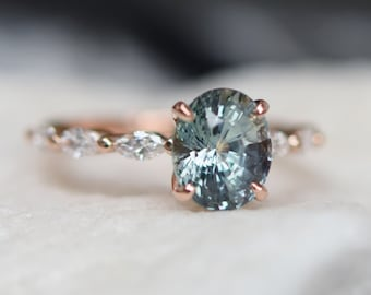 Teal Green sapphire engagement ring. Peacock blue sapphire 2.5ct oval diamond  ring 14k Rose gold ring Godivah ring by Eidelprecious