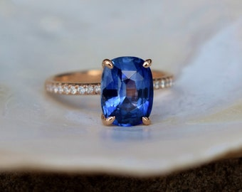 Cornflower blue sapphire ring. Cushion blue sapphire ring 2.8ct cushion sapphire diamond  ring 14k Rose gold ring. Blake ring Eidelprecious