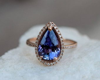 Tanzanite Ring. Rose Gold Engagement Ring Lavender Tanzanite pear cut engagement ring 14k rose gold ring by Eidelprecious.