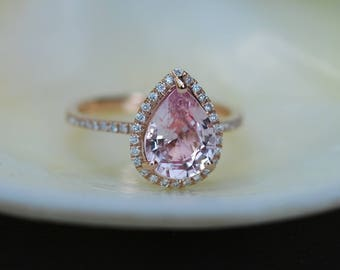 Engagement Ring Peach champagne Sapphire Engagement Ring 14k Rose Gold 1.7ct, Pear Peach. Sapphire Ring. Engagement ring