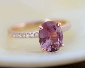 Grape Sapphire Engagement Ring. Rose Gold Ring. 14k rose gold diamond ring. Purple Sapphire. Engagement ring by Eidelprecious