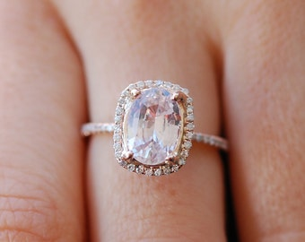 Rose gold engagement ring. Peach sapphire 4.5ct peach champagne sapphire 14k rose gold diamond ring by Eidelprecious