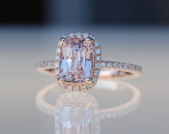 Ice peach champagne sapphire 14k rose gold diamond ring engagement ring 3ct cushion sapphire ring by Eidelprecious