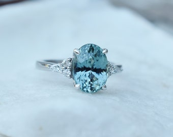 Lagoon sapphire engagement ring. Blue green sapphire 4ct oval diamond Campari ring Platinum ring by Eidelprecious