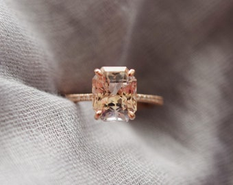 Champagne sapphire engagement ring. Emerald cut champagne sapphire 14k rose gold diamond ring. Blake engagement ring by Eidelprecious