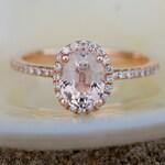 Peach Sapphire Ring, Peach Sapphire Engagement Ring, Peach Sapphire Ring, Oval Cut Engagement Ring, 14k Rose Gold