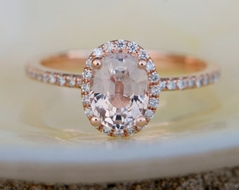 Peach Sapphire Ring, Peach Sapphire Engagement Ring, Peach Sapphire Ring, Oval Cut Engagement Ring, 14k Rose Gold