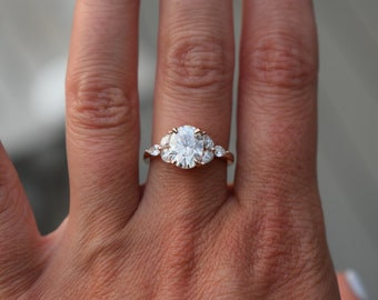 Trillium Moissanite engagement ring. Oval engagement ring. Rose Gold Engagement Ring. Diamond ring by Eidelprecious