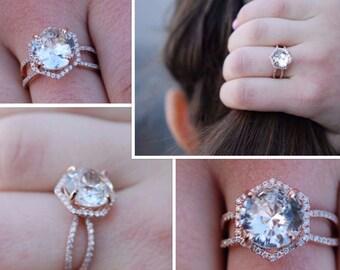 Hexagon Engagement Ring. Peach Sapphire Ring. 14k Rose Gold 2.5ct Round sapphire engagement ring by Eidelpresious