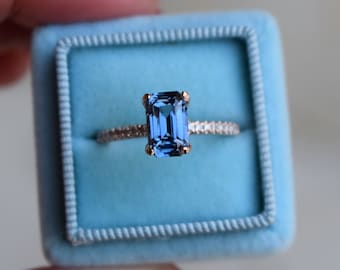 Jean Blue sapphire ring. Blake Lively engagement ring  Blue Sapphire 14k rose gold diamond ring. Emerald cut ring. Solitaire ring.