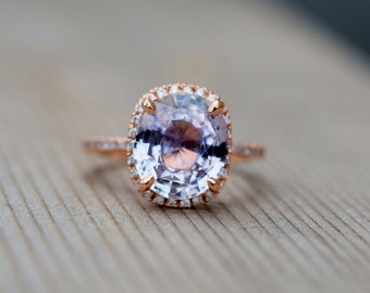 Engagement Ring 14k Rose Gold Diamond Ring 4ct Oval Light Mauve Blush Ice Peach Champagne Sapphire ring by Eidelprecious