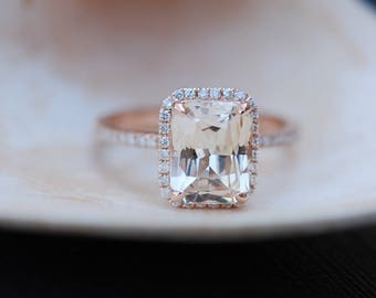 Champagne Engagement Ring. Emerald cut sapphire ring. 14k rose gold diamond ring 3ct sapphire engagement ring by Eidelprecious