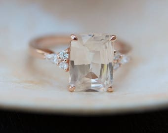 Engagement Ring Rose gold engagement ring Champagne Sapphire ring Campari ring emerald cut Rose gold diamond ring