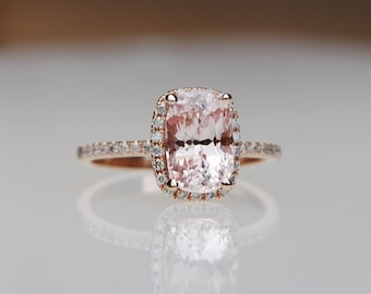 2.37ct Cushion peach champagne sapphire 14k rose gold diamond ring engagement ring