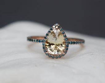 Champagne yellow sapphire ring. Rose gold ring. Pear 2.3ct champagne sapphire diamond ring 14k rose gold. Engagement ring by Eidelprecious