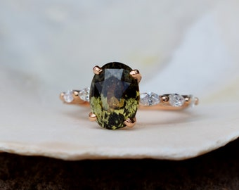 Olive sapphire engagement ring. Rose Gold Engagement ring. Green Sapphire ring. 5.3ct cushion sapphire 14k Rose Gold diamond ring.