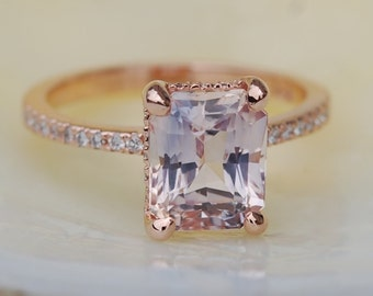 Blake Lively ring Mauve Blush Engagement Ring emerald cut 14k rose gold diamond ring 2.94ct sapphire ring