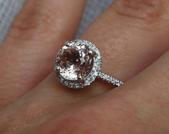 2ct round Peach sapphire Champagne sapphire ring diamond ring 14k white gold Engagement ring