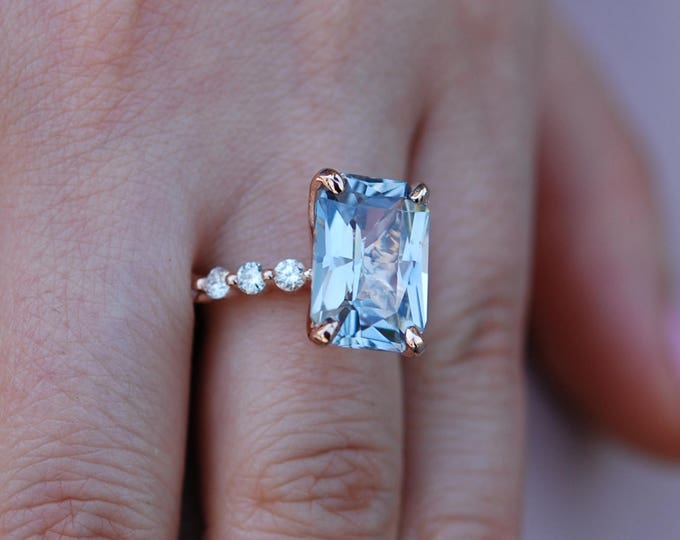 Featured listing image: GIA certified Blake Lively ring Rose Gold Engagement Ring Blue sapphire engagement ring One of a kind ring Sapphire Emerald