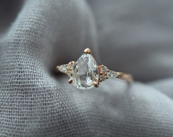Pear engagement ring. Rose gold ring. Pear Sapphire 1.82ct white sapphire diamond ring Campari Engagement ring by Eidelprecious