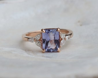 Lavender sapphire engagement ring. 2.05ct emerald cut ring Rose gold ring. Trillium Engagement ring Eidelprecious