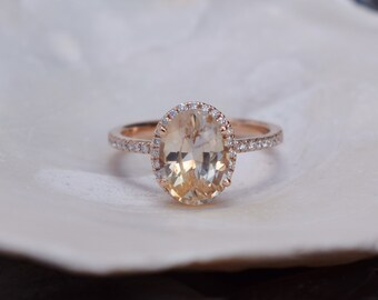 Apricot Peach Champagne Sapphire Ring 14k Rose Gold Diamond Engagement Ring 2.8ct oval sapphire ring by Eidelprecious