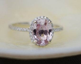 Ginger Peach Sapphire Engagement Ring 14k white gold diamond ring 1.6ct oval peach sapphire.