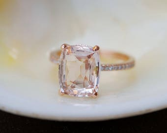 Rose gold engagement ring. Blake ring Cushion peach champagne Sapphire Engagement Ring cushion cut sapphire ring by Eidelprecious