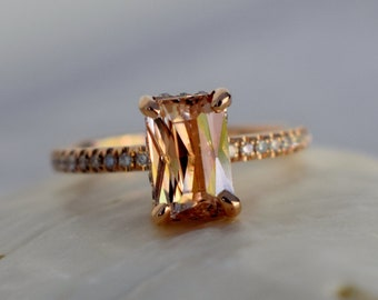 Peach sapphire engagement ring. 1.7ct Emerald radiant cut sapphire 14k rose gold diamond ring. Blake engagement ring by Eidelprecious