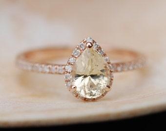 Yellow sapphire ring 1.37ct unheated sapphire halo diamond ring 14k rose gold engagement ring