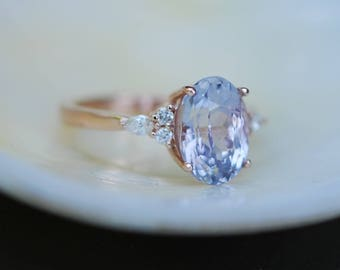 Engagement Ring Rose gold engagement ring Lavender Sapphire ring Blake Lively ring oval cut Rose gold diamond ring 3.5ct  sapphire