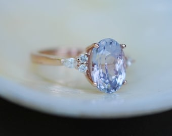 Engagement Ring Rose gold engagement ring Lavender Sapphire ring Blake Lively ring oval cut Rose gold diamond ring 2.75ct sapphire